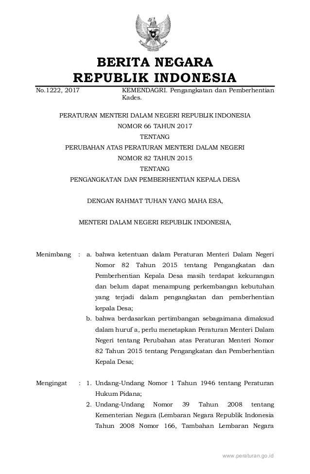 BERITA NEGARA REPUBLIK INDONESIA No.1222, 2017 KEMENDAGRI. Pengangkatan dan Pemberhentian Kades. PERATURAN MENTERI DALAM N...