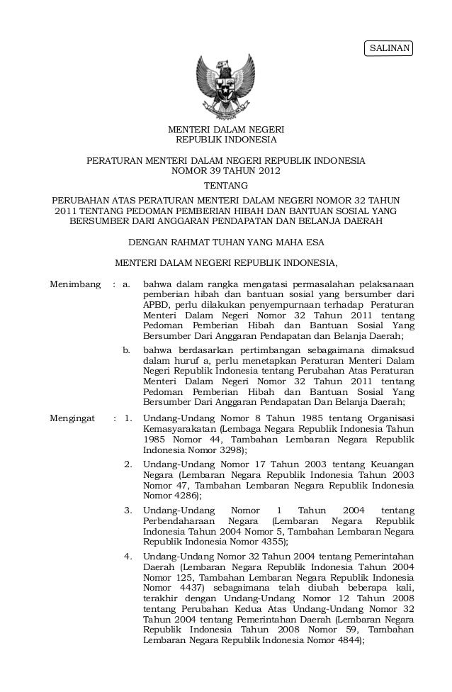 SALINAN                        MENTERI DALAM NEGERI                         REPUBLIK INDONESIA       PERATURAN MENTERI DAL...