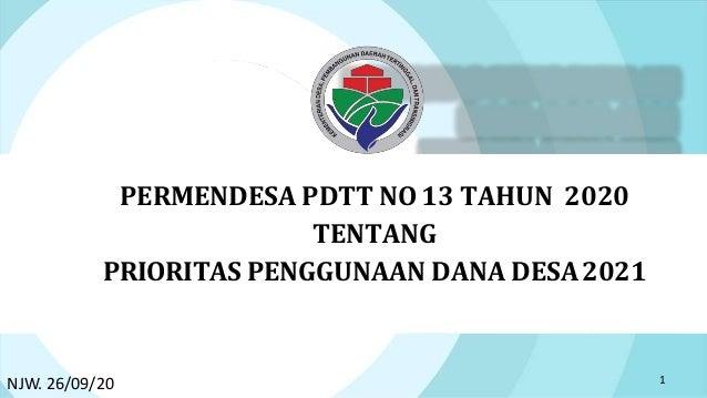 PERMENDESA PDTT NO 13 TAHUN 2020 TENTANG PRIORITAS PENGGUNAAN DANA DESA2021 1 NJW. 26/09/20