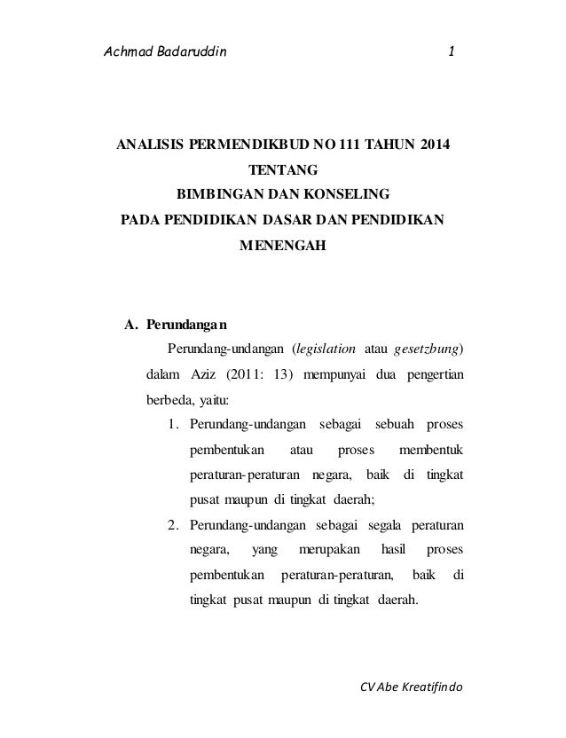 Achmad Badaruddin  Cv Abe Kreatifindoisis Permendikbud No  Tentang Bimbingan Dan Konseling