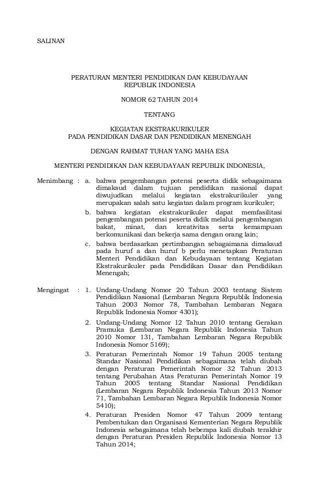 Permendikbud Nomor 62 Tahun 2014 Ttg Kegiatan Ekstrakurikuler