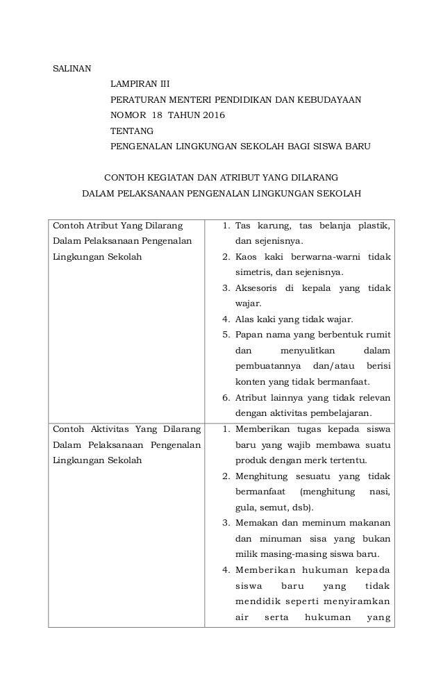 Salinan Lampiran Iii Peraturan Menteri Pendidikan Dan Kebudayaan Nomor  Tentang Pengenalan Lingkungan Sekolah