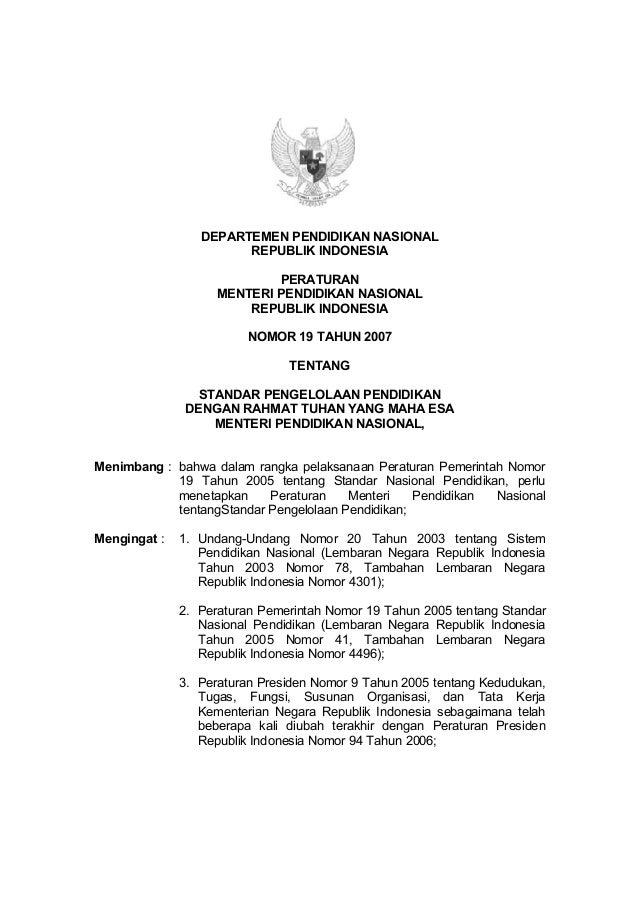 DEPARTEMEN PENDIDIKAN NASIONAL                       REPUBLIK INDONESIA                            PERATURAN              ...