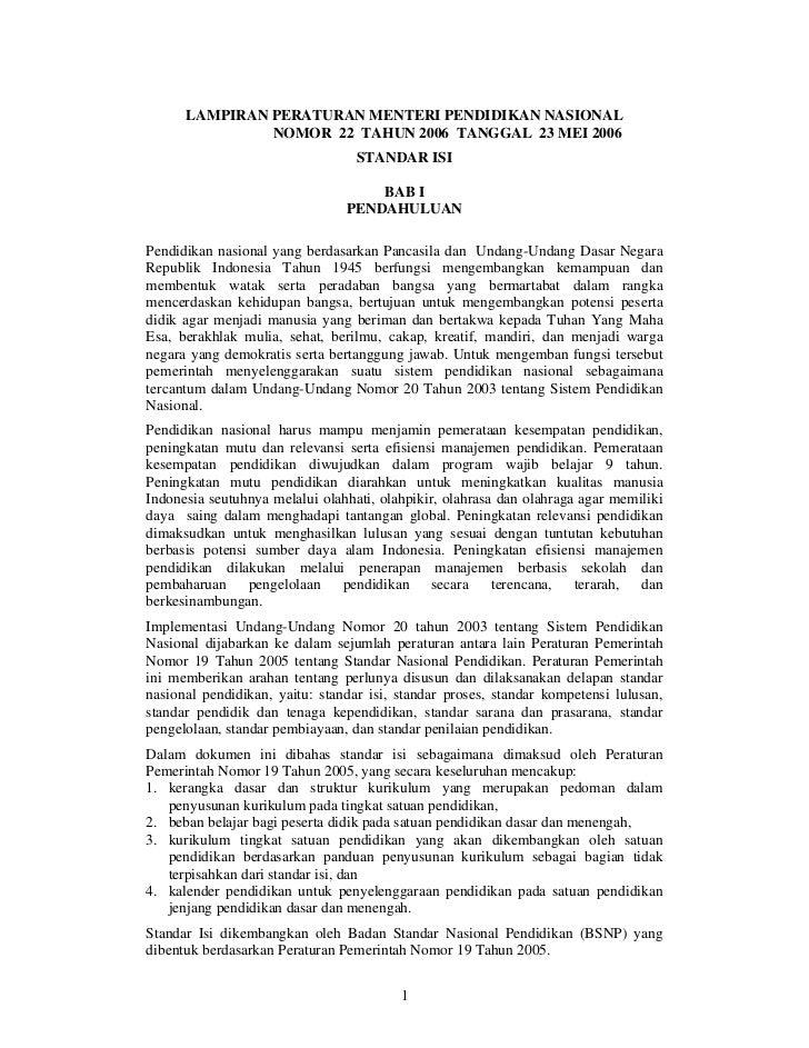 LAMPIRAN PERATURAN MENTERI PENDIDIKAN NASIONAL               NOMOR 22 TAHUN 2006 TANGGAL 23 MEI 2006                      ...