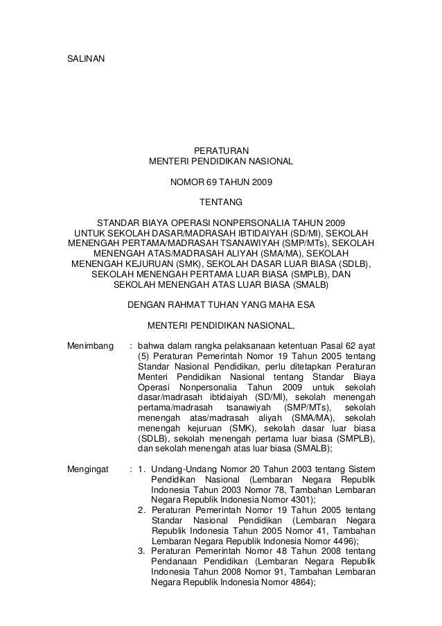 SALINAN                        PERATURAN                MENTERI PENDIDIKAN NASIONAL                     NOMOR 69 TAHUN 200...