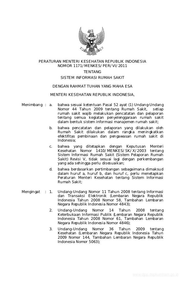 PERATURAN MENTERI KESEHATAN REPUBLIK INDONESIA                NOMOR 1171/MENKES/PER/VI/2011                               ...