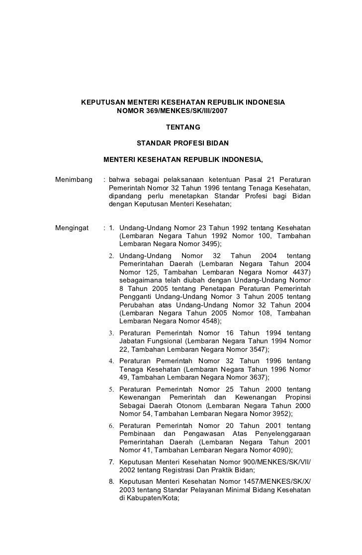 KEPUTUSAN MENTERI KESEHATAN REPUBLIK INDONESIA              NOMOR 369/MENKES/SK/III/2007                             TENTA...