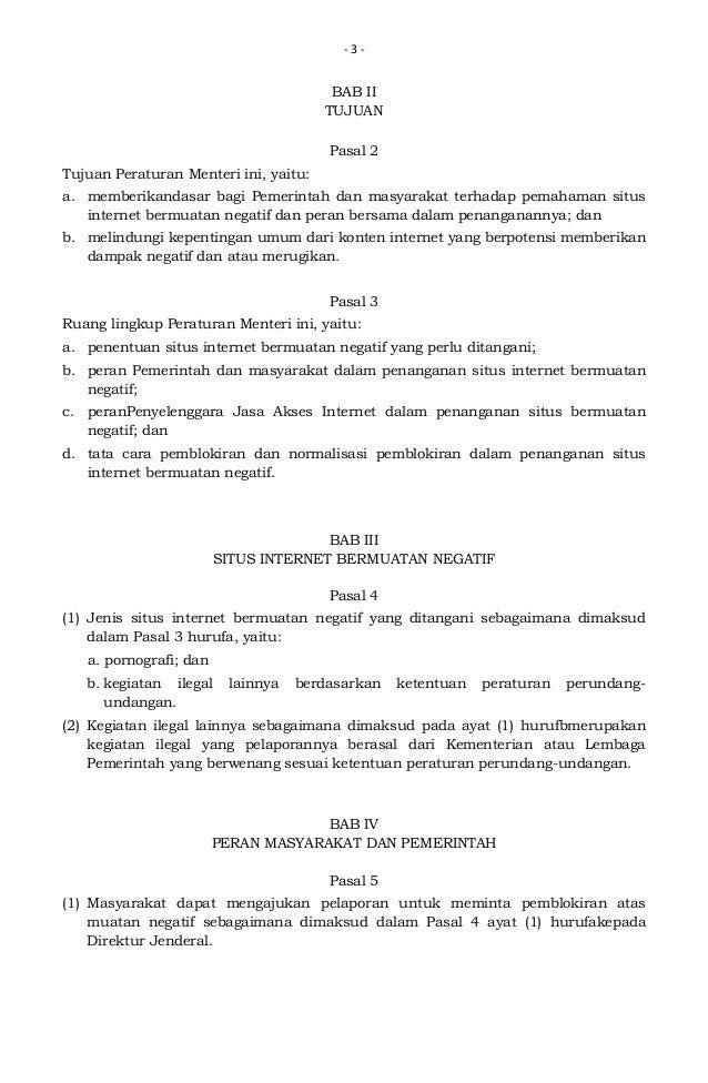Permen Kominfo No 19 Tahun 2014 tentang Penanganan Situs Internet Bermuatan Negatif Slide 3
