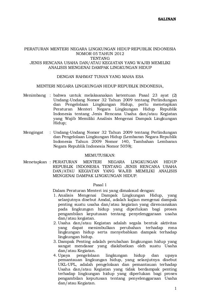 SALINANPERATURAN MENTERI NEGARA LINGKUNGAN HIDUP REPUBLIK INDONESIA                     NOMOR 05 TAHUN 2012               ...