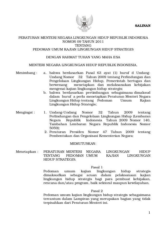 Permen Lh 09 2011 Pedoman Umum Kajian Lingkungan Hidup Strategis Klh