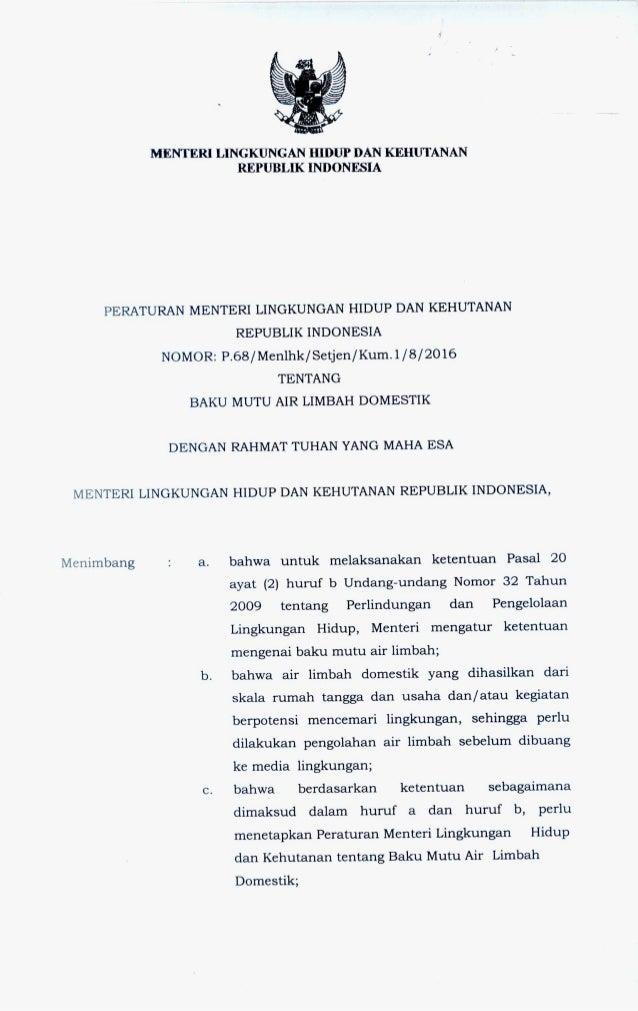 Menteri Lingkungan Hidup Dan Kehutanan Republik Indonesia Peraturan Menteri Lingkungan Hidup Dan Kehutanan Republik Indone