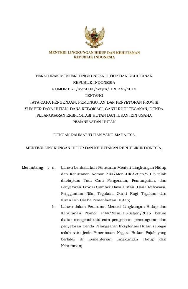 Peraturan Menteri Lingkungan Hidup Dan Kehutanan Republik Indonesia Nomor P  Menlhk Setjen