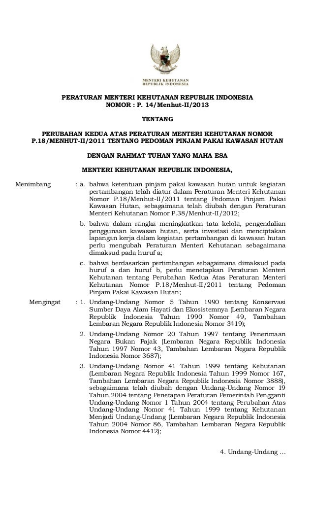 Hasil Pemba hasan d PERATURAN MENTERI KEHUTANAN REPUBLIK INDONESIA NOMOR : P. 14/Menhut-II/2013 TENTANG PERUBAHAN KEDUA AT...