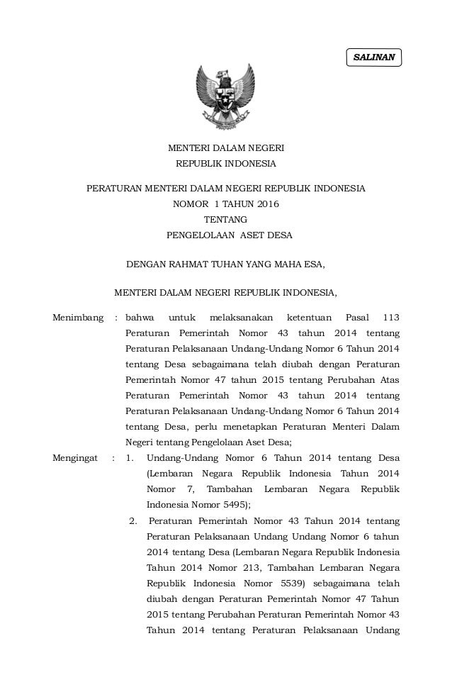 MENTERI DALAM NEGERI REPUBLIK INDONESIA PERATURAN MENTERI DALAM NEGERI REPUBLIK INDONESIA NOMOR 1 TAHUN 2016 TENTANG PENGE...