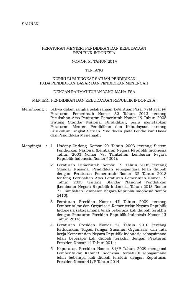 Salinan Peraturan Menteri Pendidikan Dan Kebudayaan Republik Indonesia Nomor  Tentang Kurikulum Tingkat