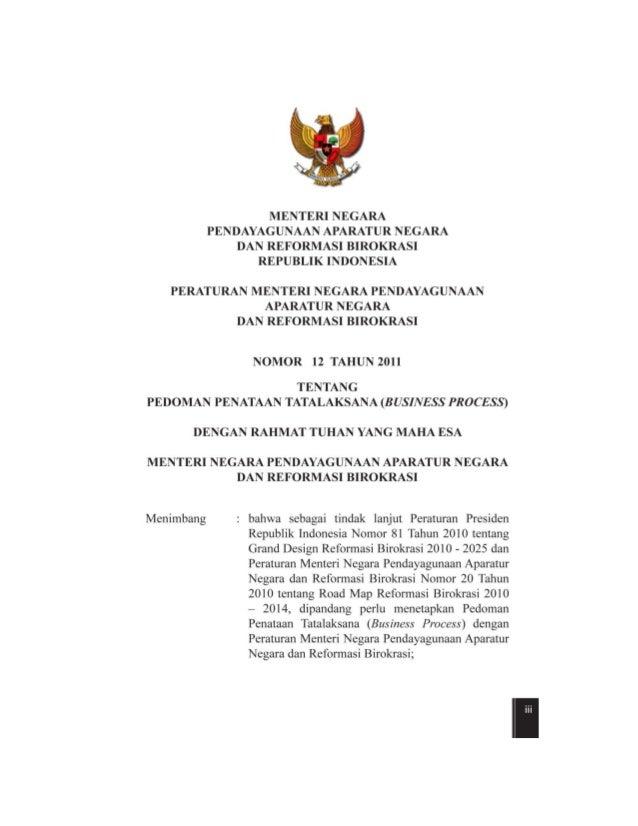 permenpan no.12 tahun 2011 pedoman penataan tatalaksana
