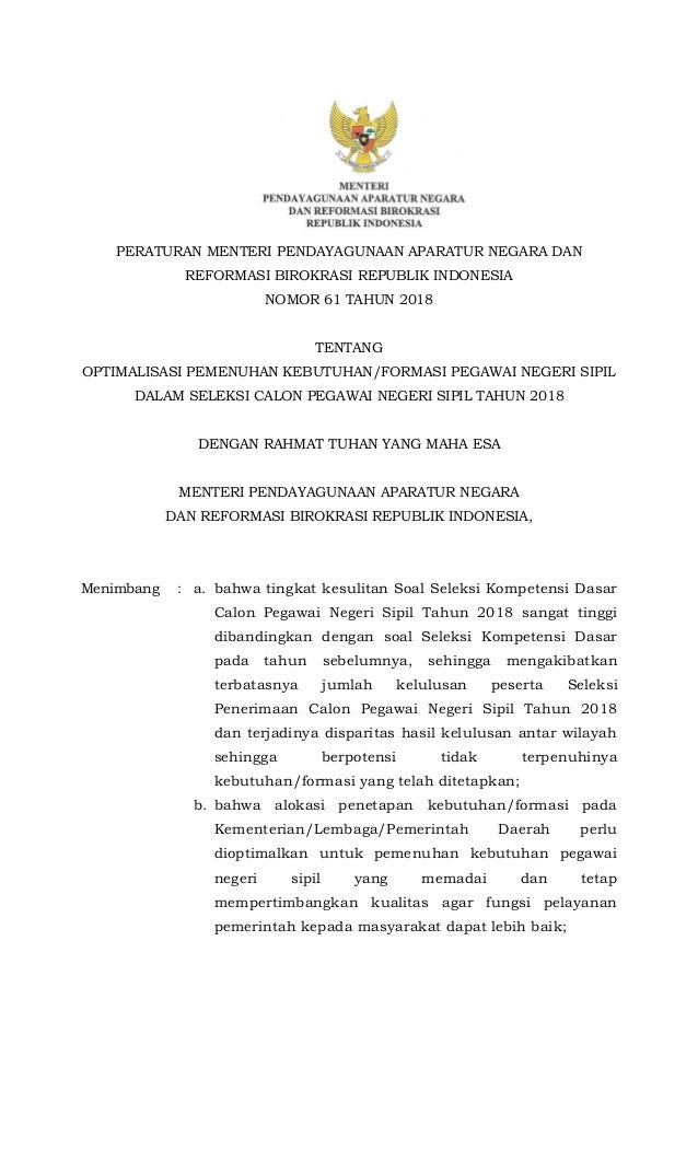 1 PERATURAN MENTERI PENDAYAGUNAAN APARATUR NEGARA DAN REFORMASI BIROKRASI REPUBLIK INDONESIA NOMOR 61 TAHUN 2018 TENTANG O...