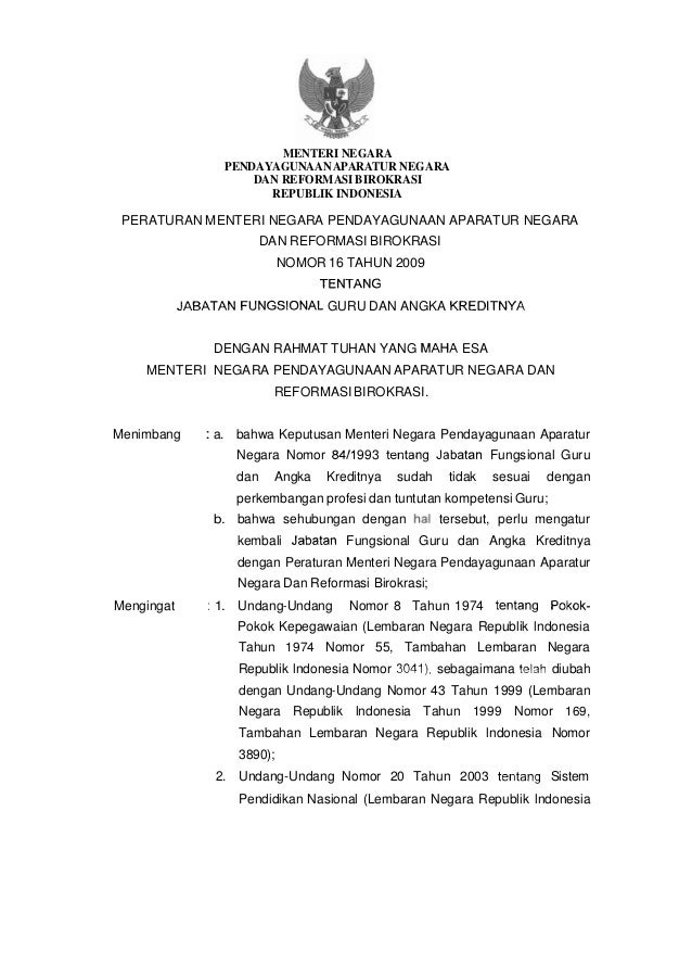 Permen Pan Dan Rb Nomor 16 Tahun 2009 Jabatan Fungsional