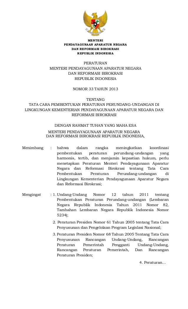 MENTERI PENDAYAGUNAAN APARATUR NEGARA DAN REFORMASI BIROKRASI REPUBLIK INDONESIA  PERATURAN MENTERI PENDAYAGUNAAN ...