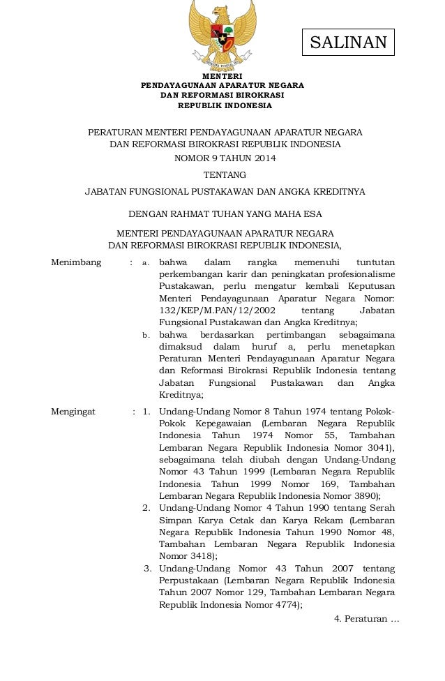 MENTERI PENDAYAGUNAAN APARATUR NEGARA DAN REFORMASI BIROKRASI REPUBLIK INDONESIA PERATURAN MENTERI PENDAYAGUNAAN APARATUR ...
