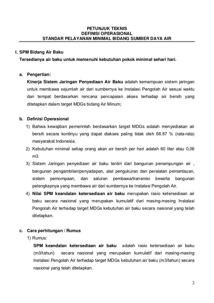 PETUNJUK TEKNIS                           DEFINISI OPERASIONAL             STANDAR PELAYANAN MINIMAL BIDANG SUMBER DAYA AI...