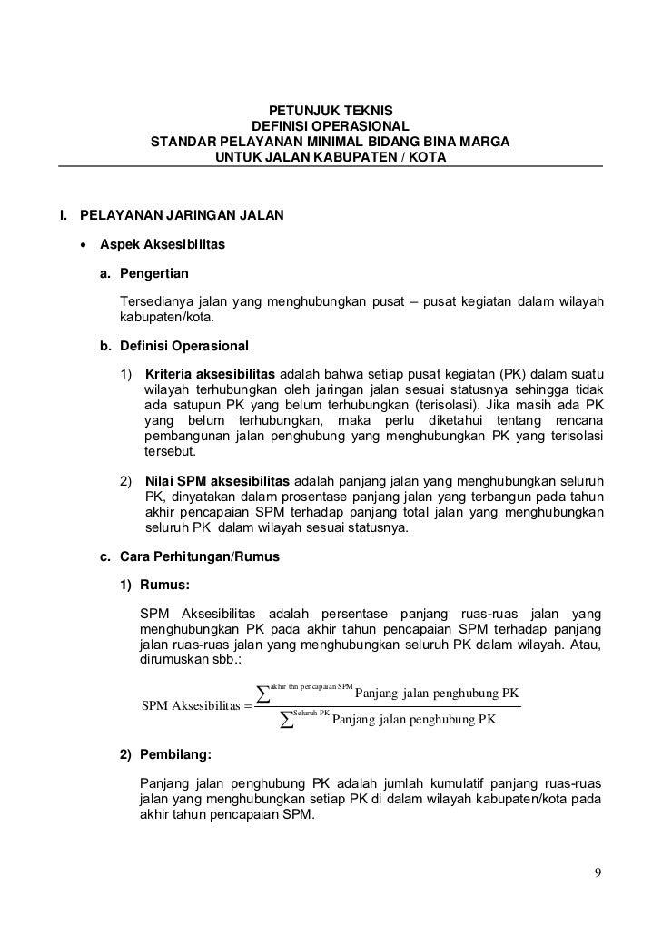 PETUNJUK TEKNIS                         DEFINISI OPERASIONAL             STANDAR PELAYANAN MINIMAL BIDANG BINA MARGA      ...