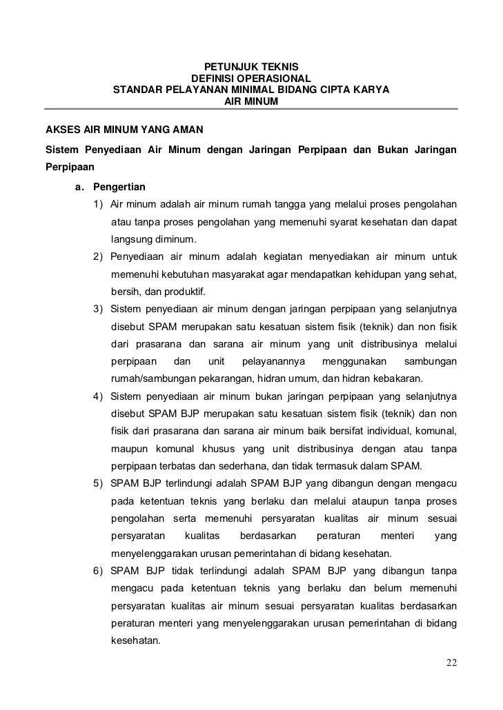 PETUNJUK TEKNIS                        DEFINISI OPERASIONAL            STANDAR PELAYANAN MINIMAL BIDANG CIPTA KARYA       ...
