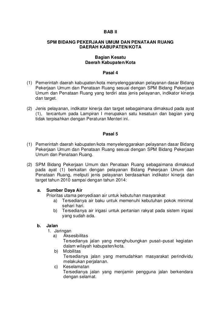 BAB II          SPM BIDANG PEKERJAAN UMUM DAN PENATAAN RUANG                      DAERAH KABUPATEN/KOTA                   ...