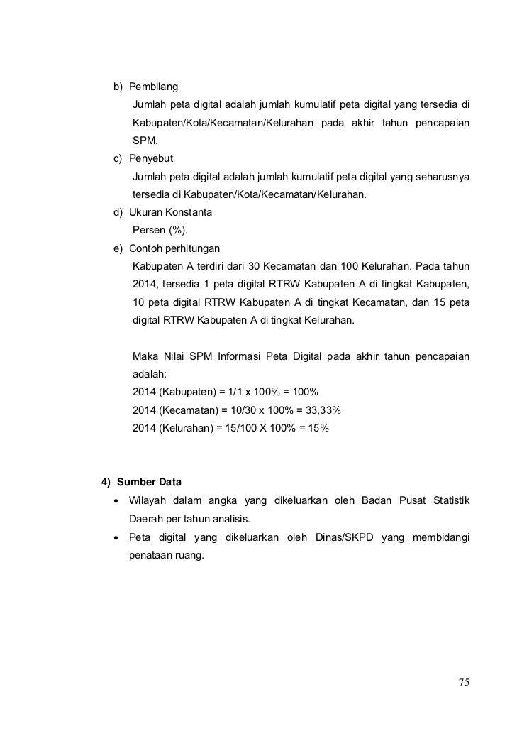 PerMen Pekerjaan Umum No. 14 Tahun 2010 Standar Pelayanan Minimal bidang PU dan Penataan Ruang