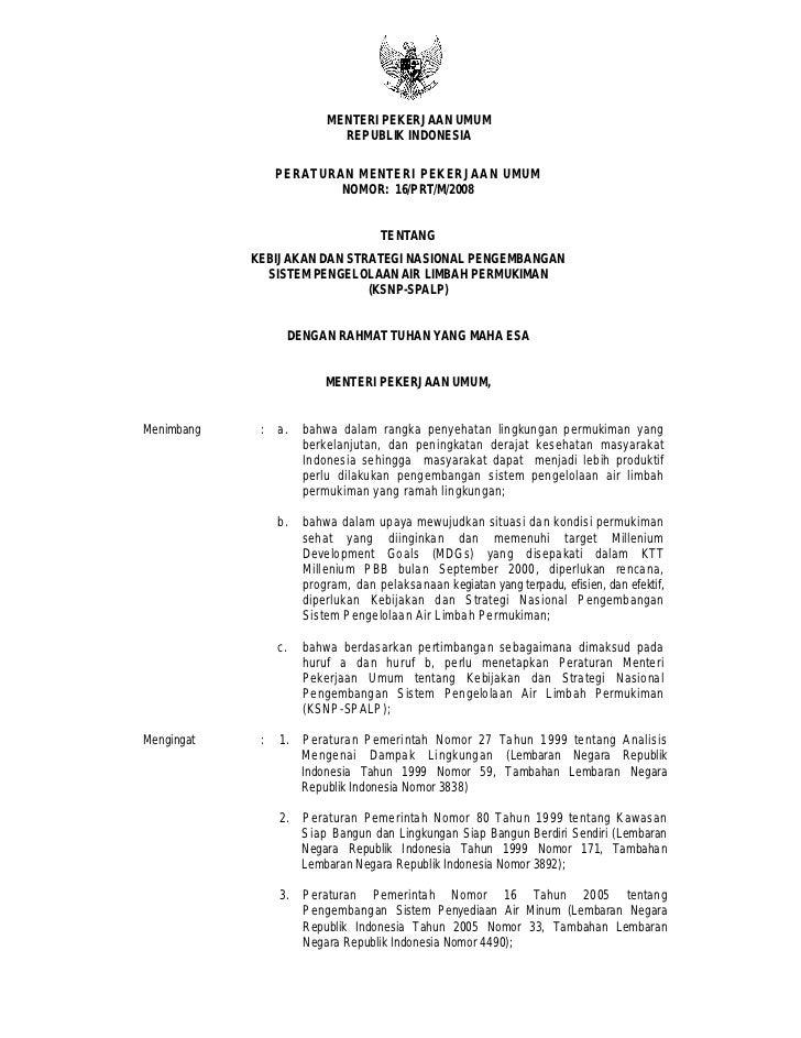 MENTERI PEKERJAAN UMUM                              REPUBLIK INDONESIA                 PER ATURAN MENTERI PEKERJAAN UMUM  ...