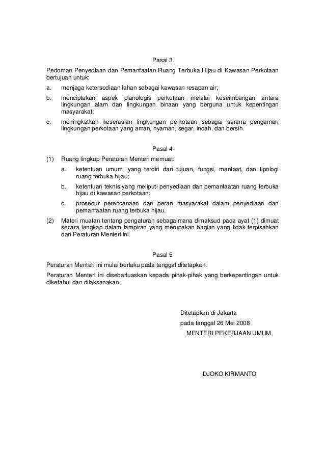 Permen pu no. 5 tahun 2008 tentang rth