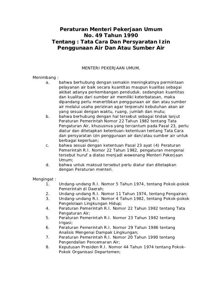 Peraturan Menteri Pekerjaan Umum                   No. 49 Tahun 1990        Tentang : Tata Cara Dan Persyaratan Izin      ...