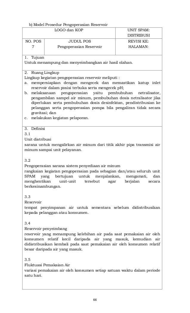 66 b) Model Prosedur Pengoperasian Reservoir LOGO dan KOP UNIT SPAM: DISTRIBUSI NO. POS 7 JUDUL POS Pengoperasian Reservoi...