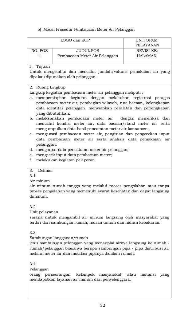 32 b) Model Prosedur Pembacaan Meter Air Pelanggan LOGO dan KOP UNIT SPAM: PELAYANAN NO. POS 4 JUDUL POS Pembacaan Meter A...