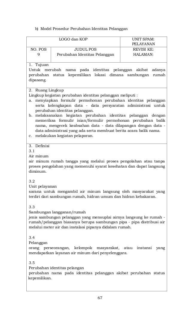 67 b) Model Prosedur Perubahan Identitas Pelanggan LOGO dan KOP UNIT SPAM: PELAYANAN NO. POS 9 JUDUL POS Perubahan Identit...