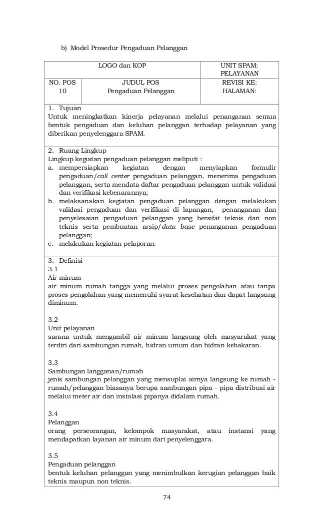 Permen PUPR 26 2014 tentang Prosedur Operasional Standar Pengelolaan Sistem Air Minum, Lampiran 4