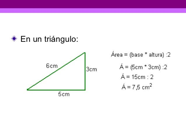 En un triángulo: