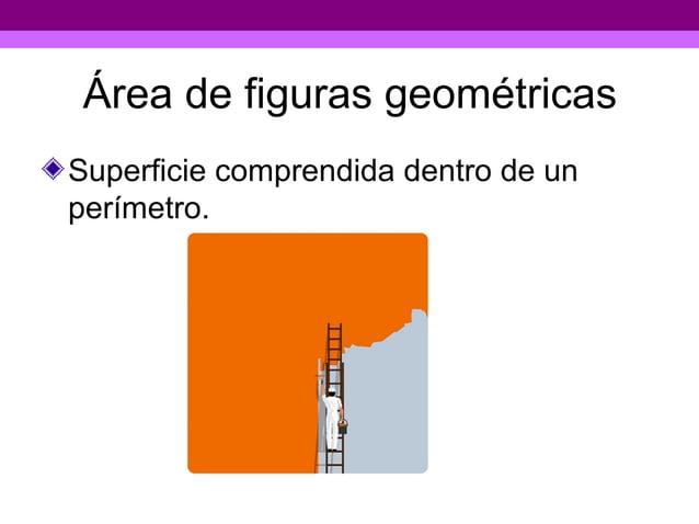 Área de figuras geométricasSuperficie comprendida dentro de unperímetro.