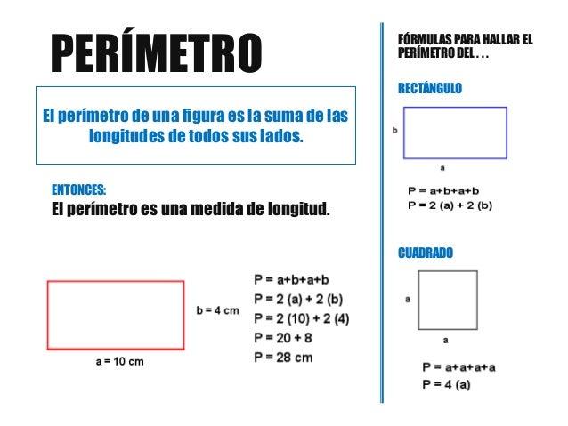 Resultado de imagen de cómo se calcula el perímetro de un rectángulo