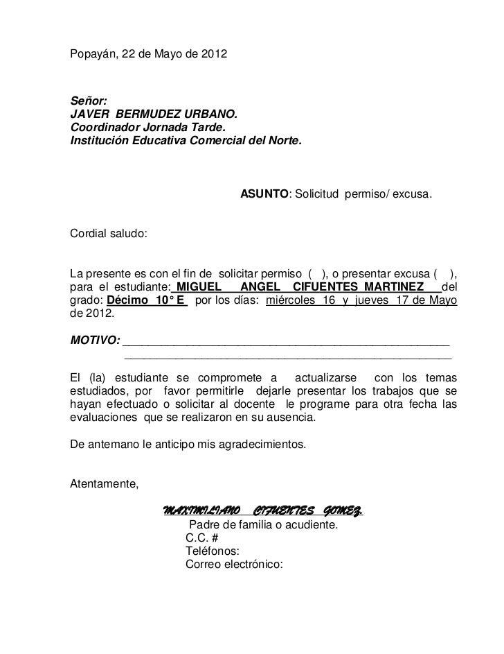 Popayán, 22 de Mayo de 2012Señor:JAVER BERMUDEZ URBANO.Coordinador Jornada Tarde.Institución Educativa Comercial del Norte...