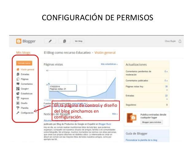 CONFIGURACIÓN DE PERMISOS  En la página de control y diseño del blog pinchamos en configuración.