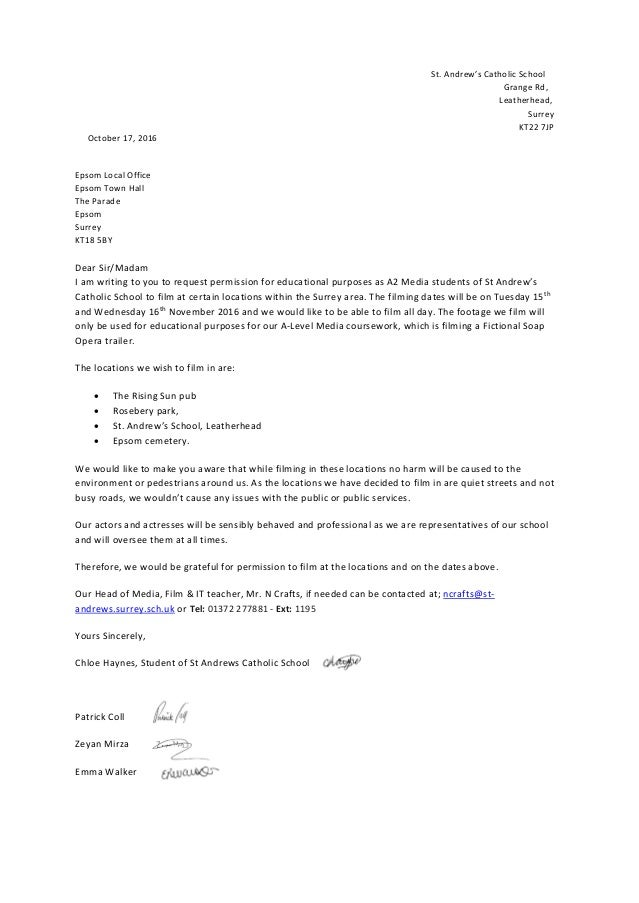 Permission letter to film