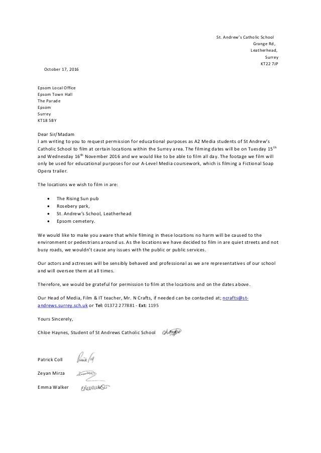 Permission Letter To Film