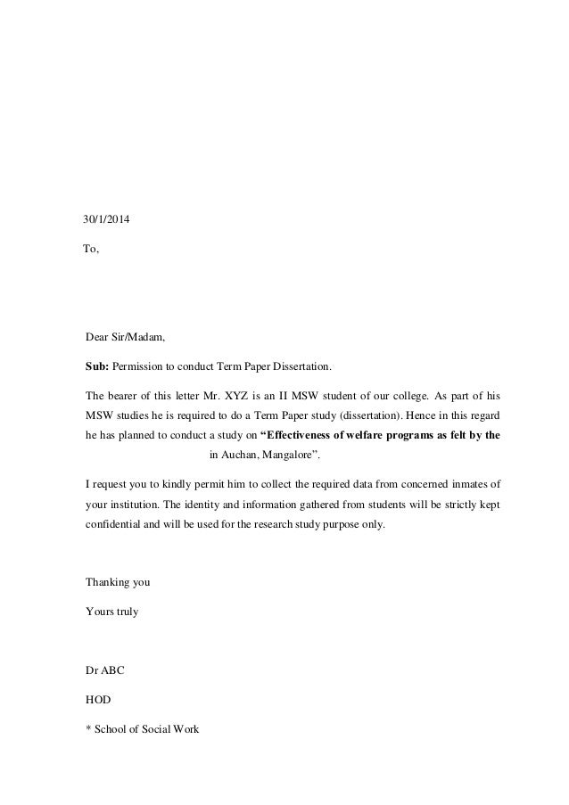 Sample Permission Letter To Conduct Interview For Thesis