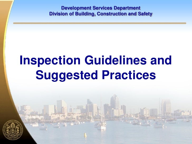 Development Services Department     Division of Building, Construction and Safety     Inspection Guidelines and    Suggest...