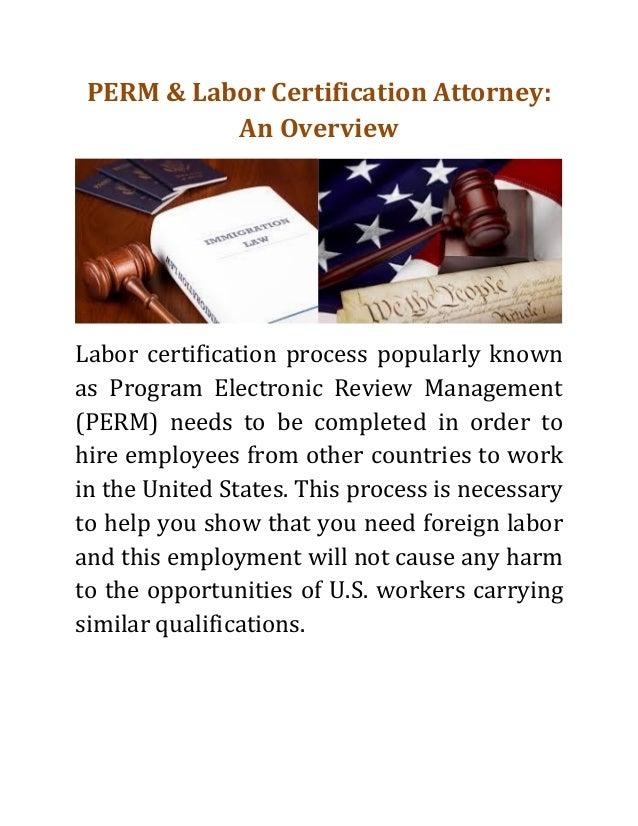labor certification perm attorney overview process slideshare program