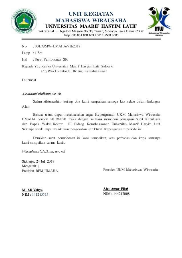 Contoh Surat Permohonan Sk Pendirian Ukm Kepada Universitas