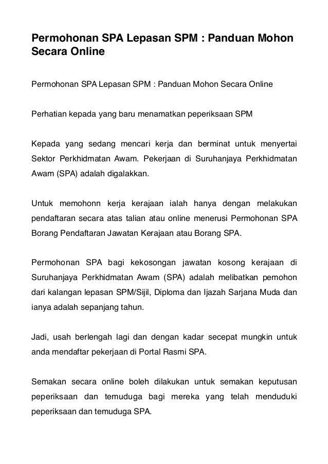 Permohonan Spa Kerja Kerajaan Malaysia