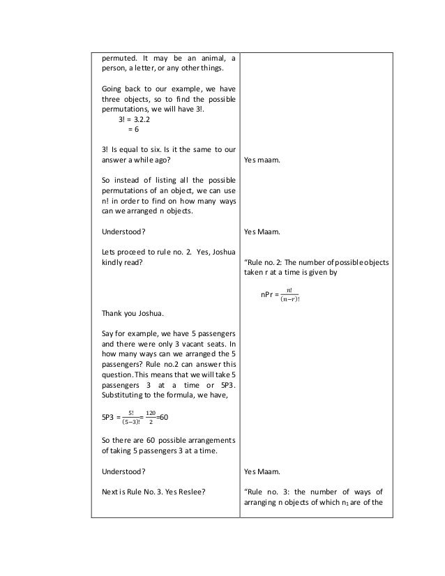 A Detailed Lesson Plan In Permutation