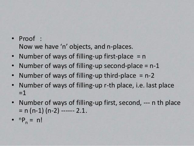 Concept.•   We have nPr = n!/n-r•   Putting r = n, we have :-•   nP = n! / (n-r)      r•   But nPn = n!•   Clearly it is p...